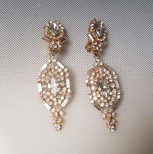 Rhinestones bling dangle clip earrings